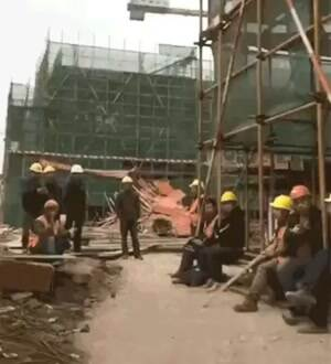 construction site dancing