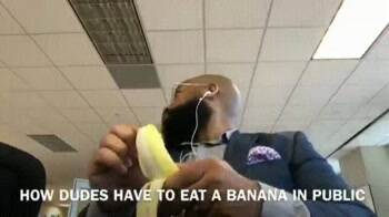 how dudes eat a banana in public
