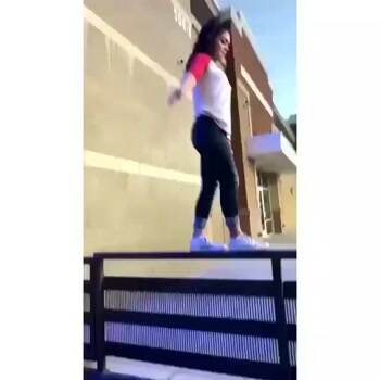 showing off her amazing balance