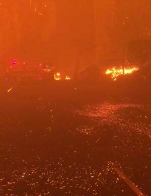 Car forest Fire in California
