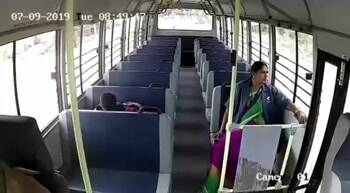 Amazing inside bus footage getting tboned by another bus