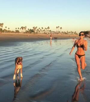 Jennifer Lee Running Beach Dog