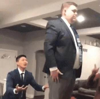 A trust fall with a fat guy