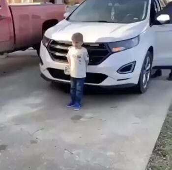 This little boy is excited about his christmas present